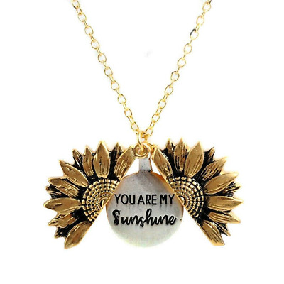 £0.56 • Buy Necklace Sunflower Pendant Open Locket Chain You Are My Sunshine Jewelry Gift