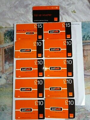 £2.99 • Buy Collection Of 11 Used Orange UK Pay As You Go (PAYG) Top-up Vouchers