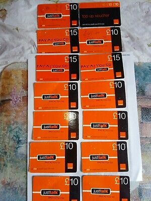£1.99 • Buy Collection Of 14 Used Orange UK Pay As You Go (PAYG) Top-up Vouchers