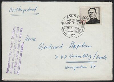 £0.01 • Buy Germany - West, 1965 Death Cent. Of Adolf Kolping Plain FDC. BONN SPECIAL H/S