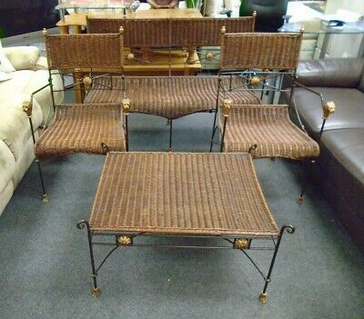 £29.99 • Buy Retro Wicker & Metal Bench, 2 X Chairs & Coffee Table Conservatory Set - CIS S55