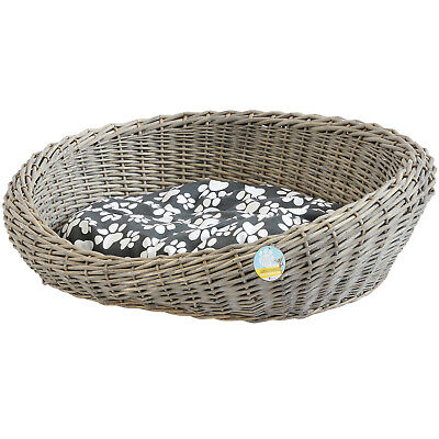 £37.99 • Buy Me & My Pets Oval Woven Wicker Pet Bed Basket Dog/puppy Sofa Washable Cushion