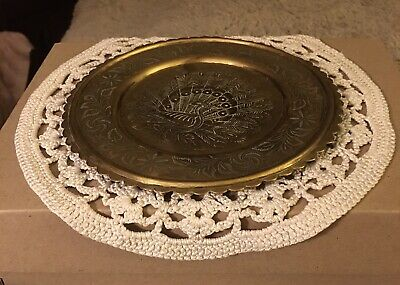 £10 • Buy Antique Indian Brass Tray Plate With Peacock Engraved  Etched In Centre 16cm Dia