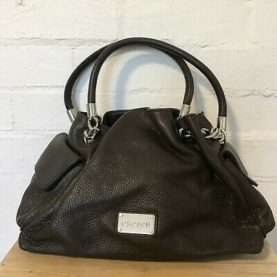 AU100 • Buy Oroton Venice Gather Tote Brown Leather Pebble & Silver Chain New Without Tags