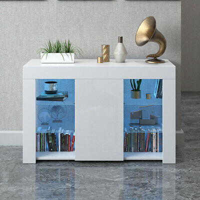 £79.99 • Buy TV Unit Cabinet Cupboard Sideboard Matt Body And High Gloss Door With LED Light