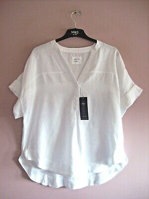 £0.99 • Buy Marks & Spencer Size 14 - 16 White Drop Sleeve 100% LINEN Top NEW