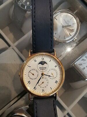 £25 • Buy Accurist Unisex Quartz Gold Plated Moon Phase Watch With New Strap