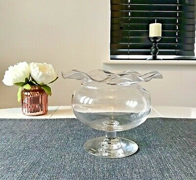 £11.99 • Buy Clear Glass Bulb Style Vase With Wavey Rim