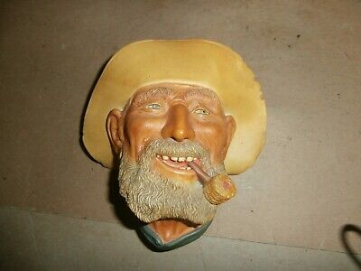 £18.10 • Buy Vintage 1977  Bossons England Chalkware Head Wall Plaque Old Timer