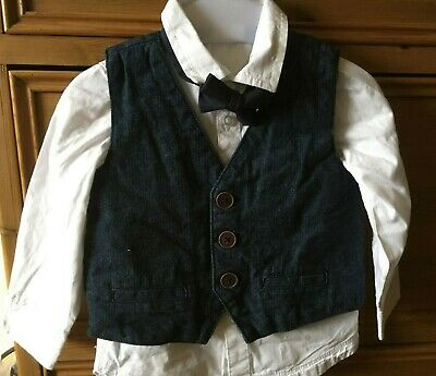 £0.99 • Buy Baby Boy's Shirt, Waistcoat And Bow Tie Outfit. Age 12-18 Months