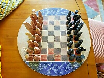 £18 • Buy Chess Set And Board In Carved Soft Stone