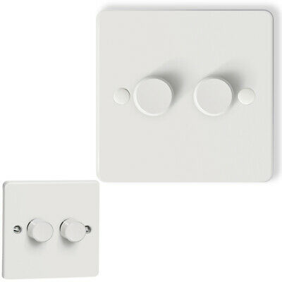 £17.95 • Buy Iolloi LED Dimmer Switch Trailing Edge 2gang 2way Rotary On Off Brightener White