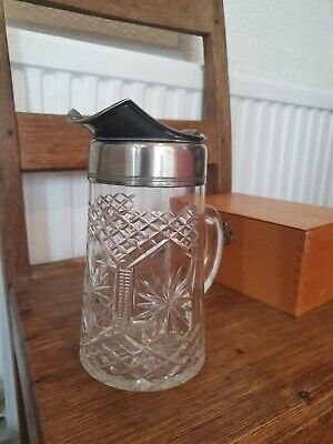 £4.99 • Buy Edwardian Cut Glass Crystal Water Jug With Pewter Top Excellent Condition