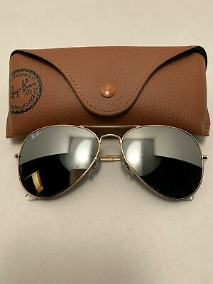 AU15.37 • Buy Ray-Ban Aviator Sunglasses RB3025 58-14mm 001/30 Gold Frame & Silver Mirror Lens