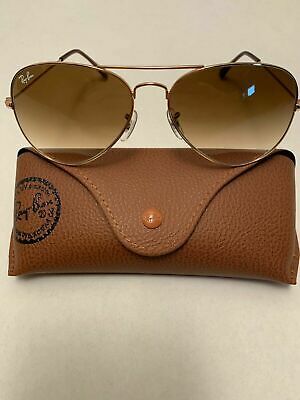 AU1.67 • Buy Ray-Ban Aviator Sunglasses RB3025 58-14mm 001/51 Gold Frame Brown Gradient Lens