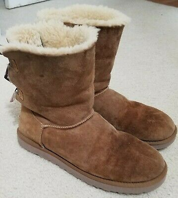 £21.47 • Buy Ugg Bailey Bow 1002954 Brown Boots Womens Size 10 Great For Winter Snow