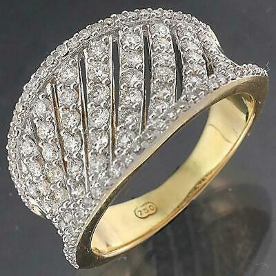 AU1695 • Buy Wide Concave 106 DIAMOND 18k Solid Yellow GOLD STATEMENT RING Val=$4215 Sz N