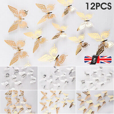 £2.89 • Buy Butterfly Wall Stickers 3D Metallic Art Decals Home Room Decorations Decor Kids