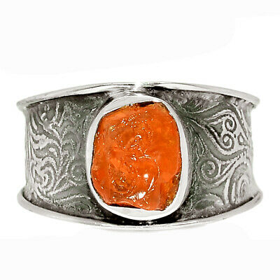 £10.06 • Buy Mexican Fire Opal Rough 925 Sterling Silver Ring Jewelry S.9 BR67414 204K