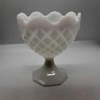 $9.99 • Buy Vintage NAPCO White Milk Glass Footed Compote Candy Dish Bowl Vase Planter 1184