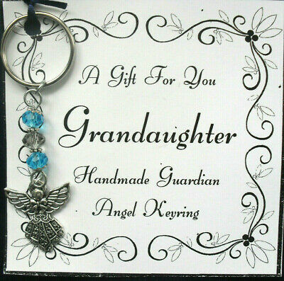 £2.50 • Buy  Present For Grandaughter Guardian Angel Keyring With Glass Beads A Gift For You