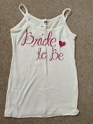 £1.99 • Buy BRIDE TO BE Vest - Wedding Hen Night - All Cotton, Size XS, Great Condition