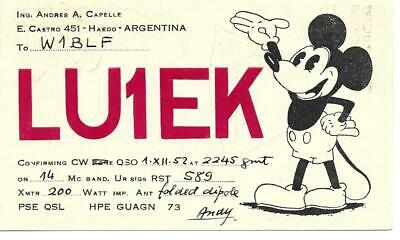 £4.70 • Buy QSL 1952 Argentina Mickey Mouse Radio Card