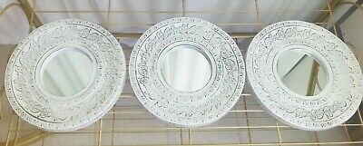 £14.99 • Buy Set Of 3 White Distressed Moroccan Filigree Wall Hanging Mirrors