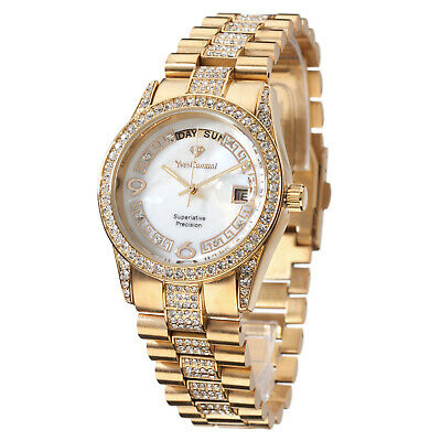 £99 • Buy YVES CAMANI Tiberius Ladies Watch Stainless Steel Gold Plated Mother Of Pearl