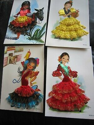 £5 • Buy 4 Vintage Spanish Silk Embroidered Postcards With 3D Skirts By Asun And Garcia