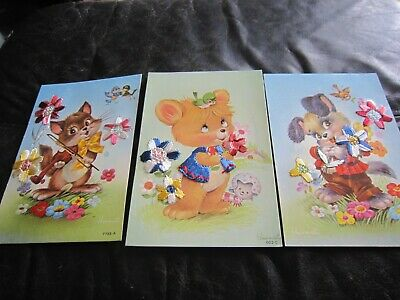 £4 • Buy 2 Vintage Spanish Silk Embroidered Postcards With Animals And FlowersI. Vennet
