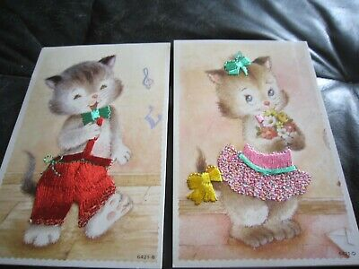 £3 • Buy 2 Vintage Spanish Silk Embroidered Postcards With Kittens No 6421 B And D