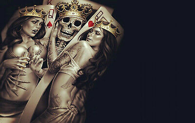 £19.99 • Buy SEXY WOMEN SKULL PLAYING CARDS - LARGE WALL ART FRAMED CANVAS PICTURE 20x30 INCH