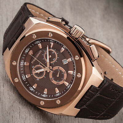 £119 • Buy YVES CAMANI Quentin Mens Watch Stainless Steel Cofee Rosegold Chronograph New