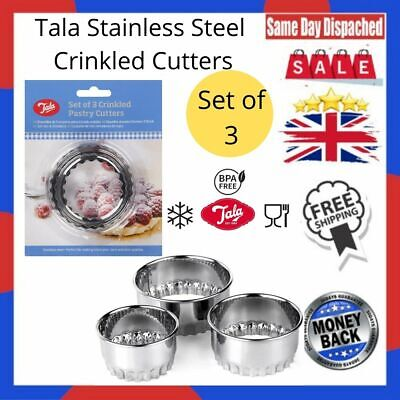 £4.35 • Buy Set X 3 Crinkled Scone Fluted Pastry Cutters Tart Quiche Stainless Steel Mince