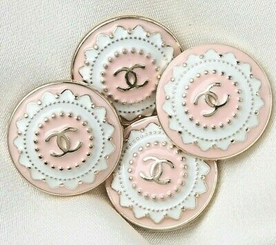 £27.63 • Buy Chanel Buttons 4pc CC Pink & Gold 21 Mm Vintage Style Unstamped AUTH!!!