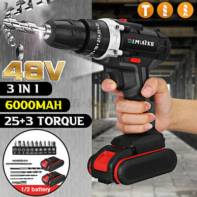 View Details 48V Rechargeable Cordless Power Driver Electric Screwdriver Drill Set W/2 Battey • 41.49$
