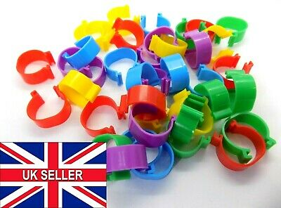 £2.99 • Buy 16mm Reusable Birds Rings Chicken Poultry Duck Quail Foot Tags Clips Leg Ring UK