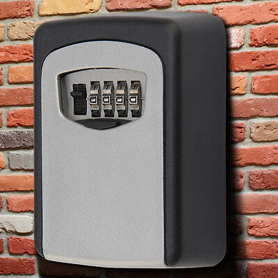 £10.79 • Buy NEW 4 Digit Wall Mounted Key Safe Box Outdoor High Security Code Lock-Storage UK
