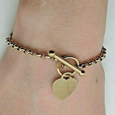 £194.95 • Buy A Lovely 9ct (375) Yellow Gold Bracelet With T-Bar, Loop And Heart Charm