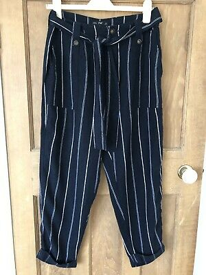 £9.99 • Buy F&F Ladies Striped Linen Blend Trousers Size 12