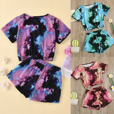 £9.99 • Buy Baby Girls Clothes Set Tie-Dye Short Sleeve T-Shirt Top Shorts Pants Outfits