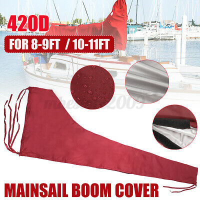 $47.49 • Buy For 8-9ft /10-11ft Mainsail Boom Sail Cover Protector Waterproof Fabric Red 420D