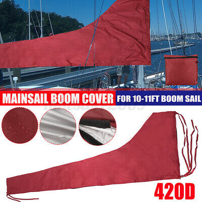 $47.49 • Buy 3.5M Mainsail Boom Cover Protector Waterproof Fabric Red For 10-11ft Boom Sail