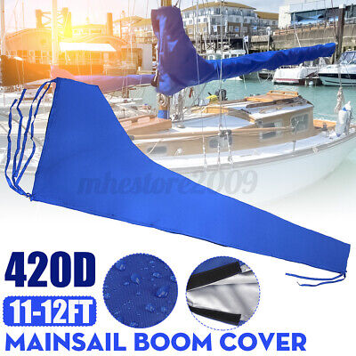 $42.74 • Buy 420D Mainsail Boom Cover Sail Protector Waterproof Fabric Blue Fits For 11-12ft