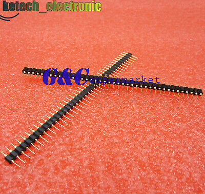 $2.80 • Buy Single Row 40Pin 2.54mm Round Male Pin Header Gold Plated Machined J8