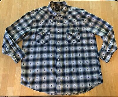 $15 • Buy Moose Creek Flannel Shirt Size 2XL Snap Up Front Western Style Blue & Tan