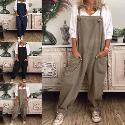 AU24.69 • Buy Womens Loose Fit Plain Pocket Jumpsuits Ladies Casual Wide Leg Rompers Overalls