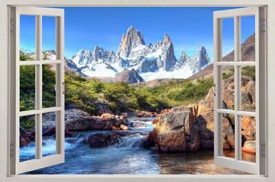 $36.97 • Buy Mountain River 3D Window View Decal Graphic WALL STICKER DIY Art Mural H235