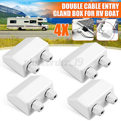 £15.03 • Buy 4pcs Solar Panel Roof Top Double Cable Entry Gland Box Motorhome Camper RV